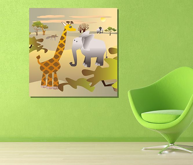 Interior with Animas in Africa. Vector illustration. Canvas art for ...