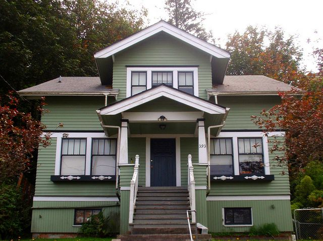 Green White Craftsman Bungalow House Via Flickr Unusual For Its Symmetry Most Bungalows Are