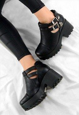 377ebda132198 FAITH Chunky Heel Cut Out Grip Platform Buckle Ankle Boots | Style ...