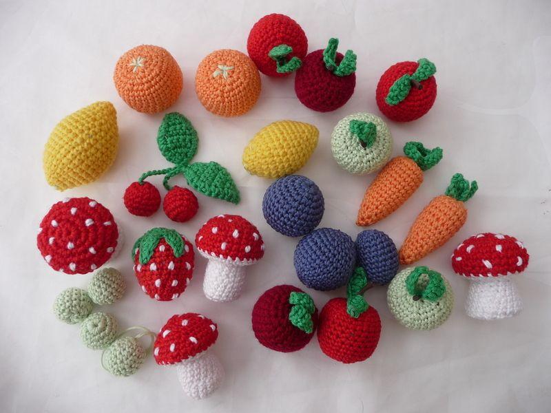 Set 5 X Obst Und Gemüse Für Den Kaufmannsladen Häkelsüss