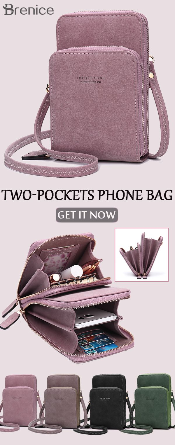 【US$ 19.99】Women Solid Card Bag Phone Bag Crossbody Bag #crossbodybags #shoulderbags #pinkbags #phonebags #bag