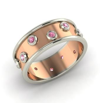 Round Pink Tourmaline Men's Ring in 14k White Gold
