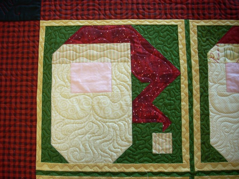 Closeup Of Santa Faces On Santa Baby Quilt Custom Will Add Button