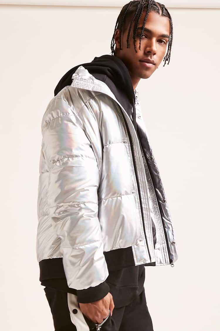 Forever21 Metallic Puffer Jacket 39 90 Puffer Jacket Men Jackets Puffer Jackets [ 1125 x 750 Pixel ]