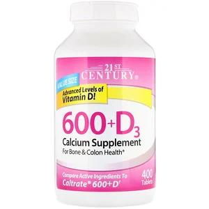 21st Century 600 D3 Calcium Vitamin D3 Supplement 400 Tablets Calcium Vitamins Calcium Supplements Nutritional Supplements