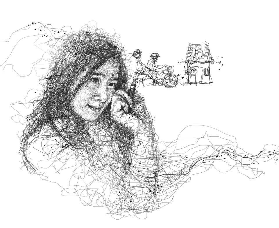 Oeuvre by Vince Low - Une femme qui dessine