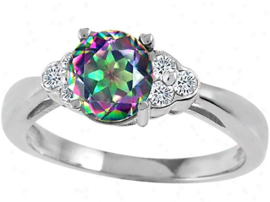 mystic fire rings for sale genuine mystic rainbow topaz and diamond engagement ring - Rainbow Wedding Rings