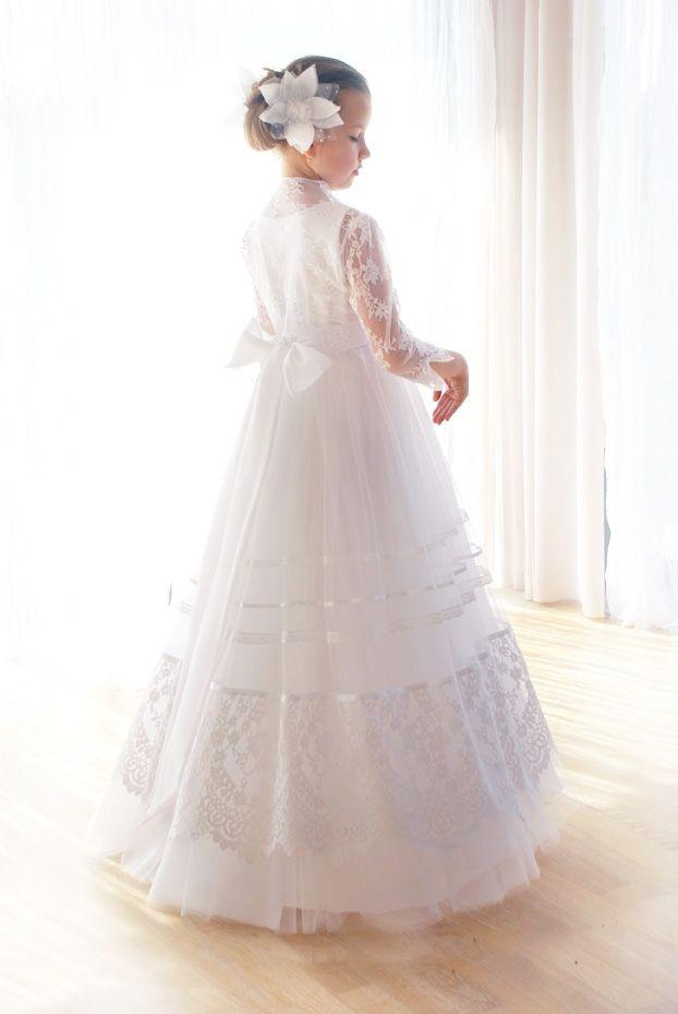 c53e819002 sukienki komunijne - communion dress - tiulowa sukienka komunijna z  koronkowym wdziankiem