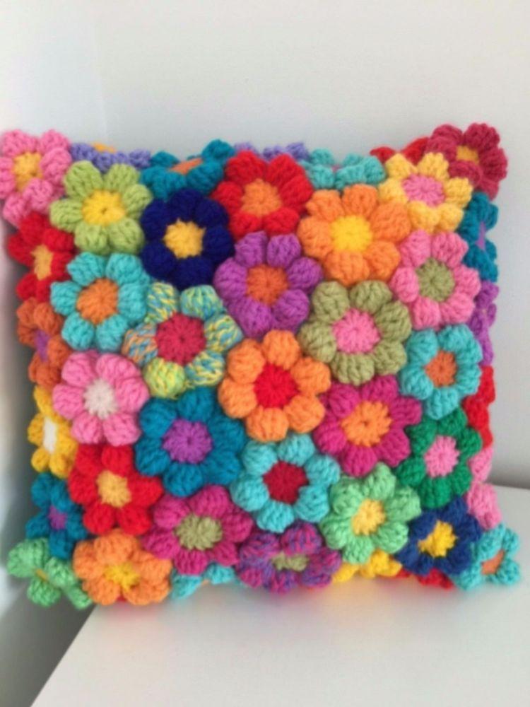 Cushion Rainbow Crochet Flowers Stunning Hand Made Couch