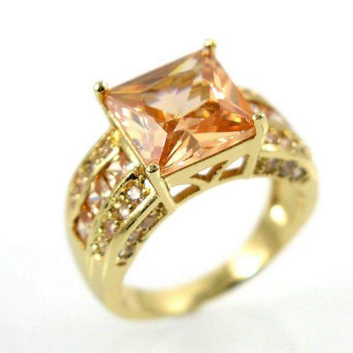 Usa Seller Women 10k Gold Filled Morganite Swarovski Crystals Size 7 Ring Retail Value 450 00 Starting At 1 Swarovski Crystals 10k Gold Crystals