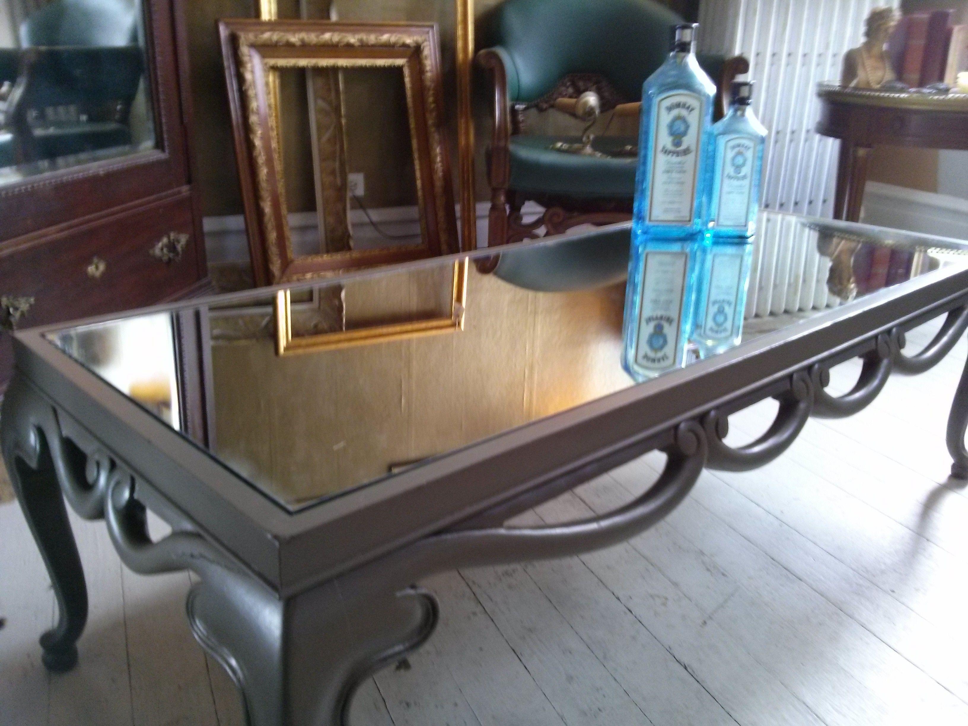 Glamorous Mirrored Coffee Table $425 Wilmette furnishly