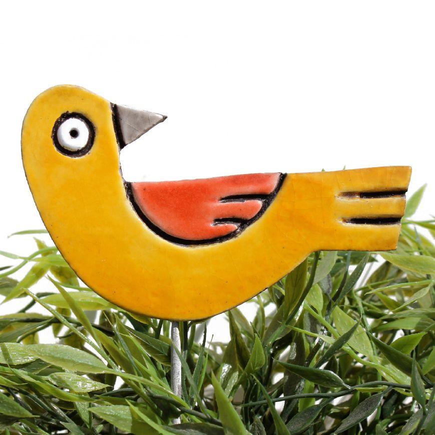 Ceramic bird garden art - looking right | Ceramic birds, Garden art ...