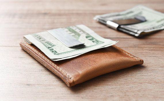 e82ab0aca1e Minimalist Money Clip Wallet Simple Leather Card Sleeve