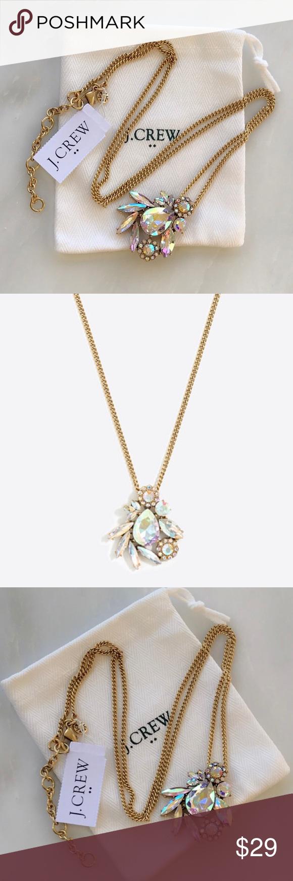 J crew winding iridescent crystal pendant necklace nwt my posh