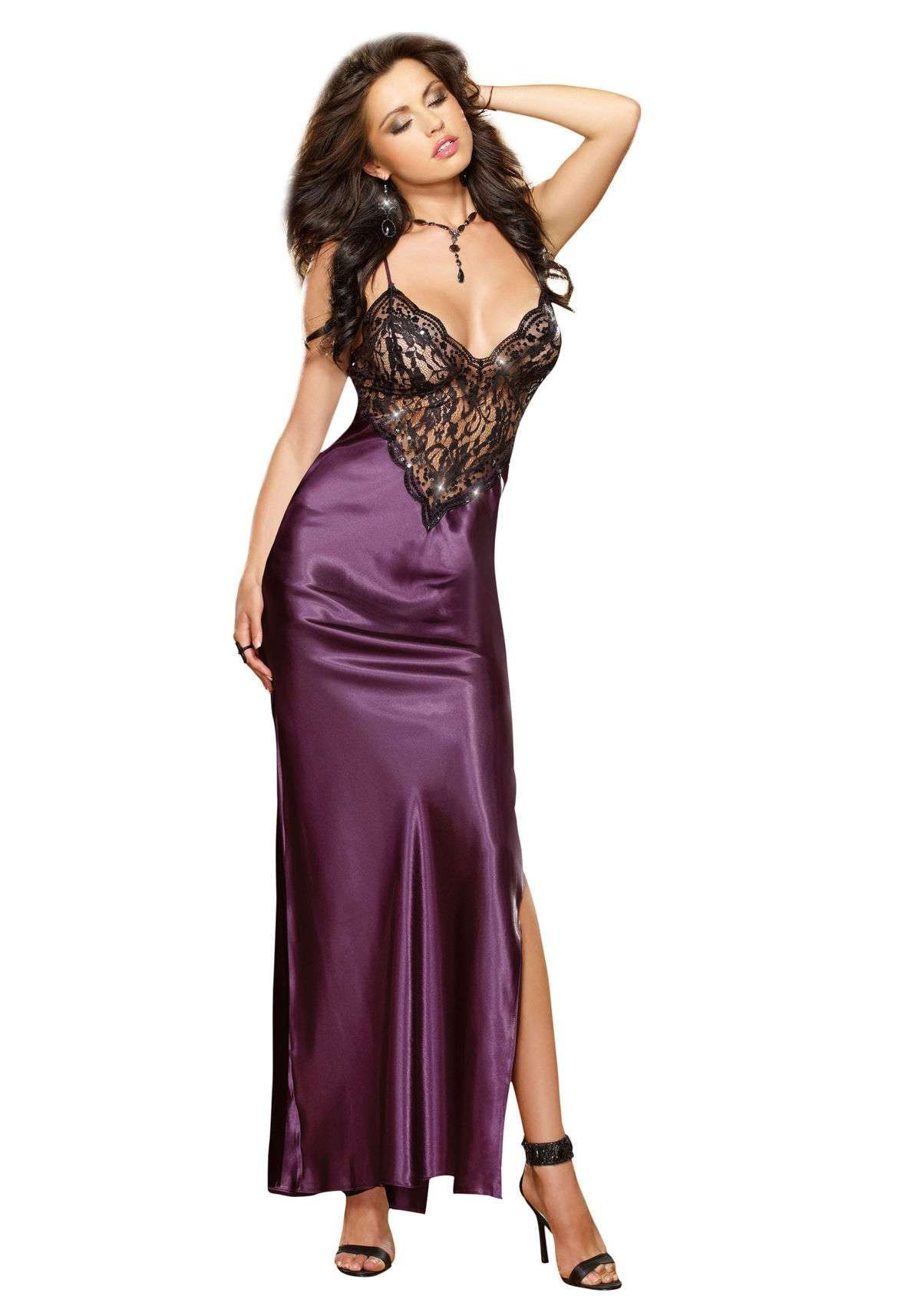 Dreamgirl Satin Charmeuse Lace Sequin Gown lingerie dress | Lounjere ...