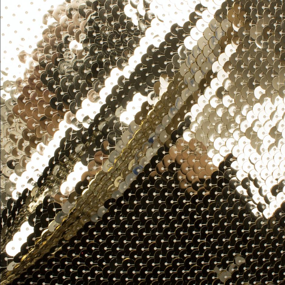 Designer Gold Overlapping Stretch Sequin ($166.16/metre) | Joel & Son Fabrics