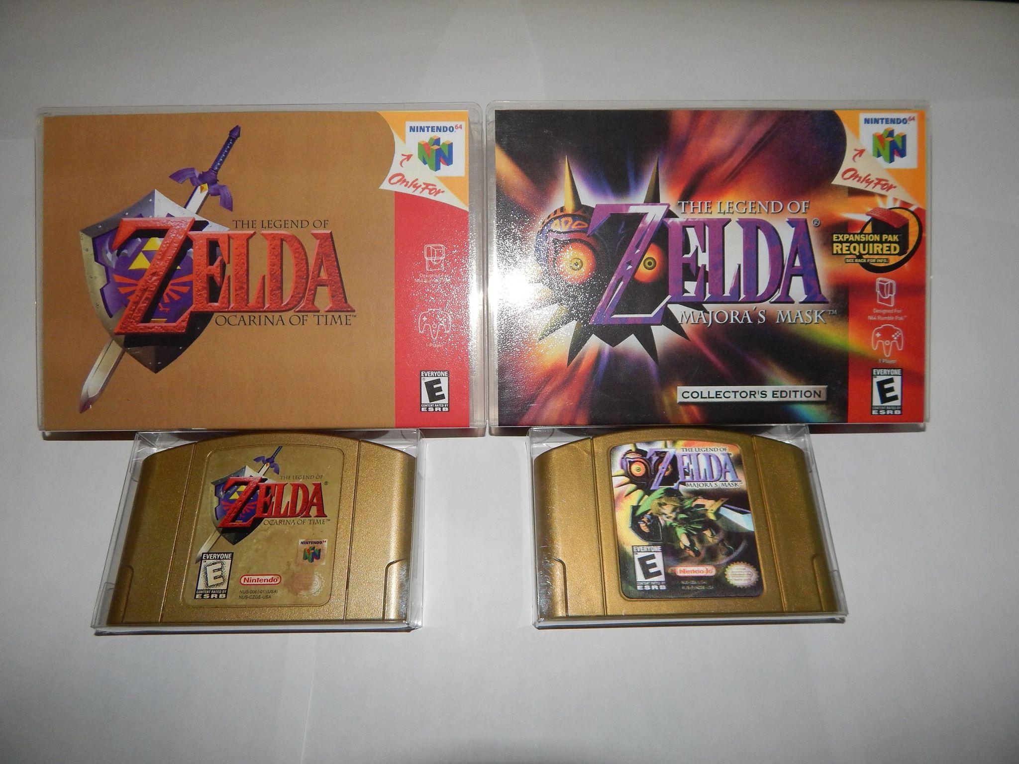 The Legend Of Zelda Ocarina Of Time The Legend Of Zelda Majora S Mask Gold Cartridges And Collector S Case Ocarina Of Time Legend Of Zelda Atora