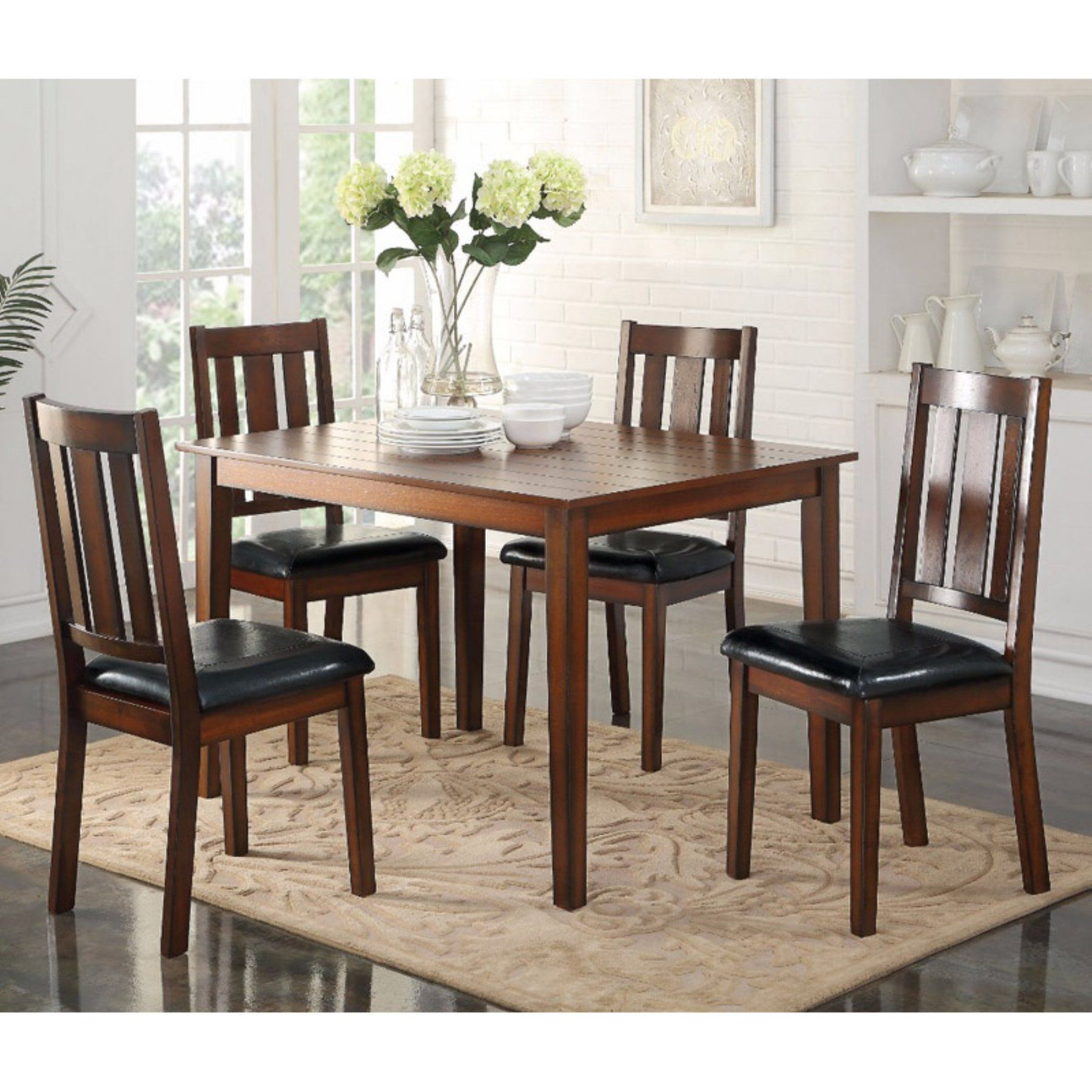 Benzara Stylish Wooden 5 Piece Square Dining Table Set Square