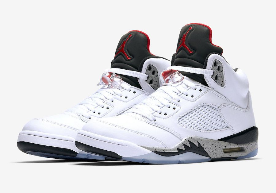 73a3c93ce489 ... clearance nike air jordan 5 retro cement size 8 18 white university red  black 136027 104
