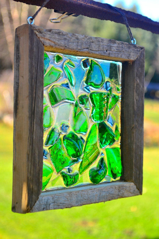 Broken Vintage Soda Bottle Stained Glass Suncatcher