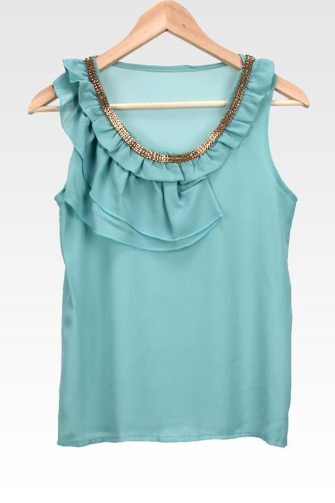 Ruffled blouse with embellishment