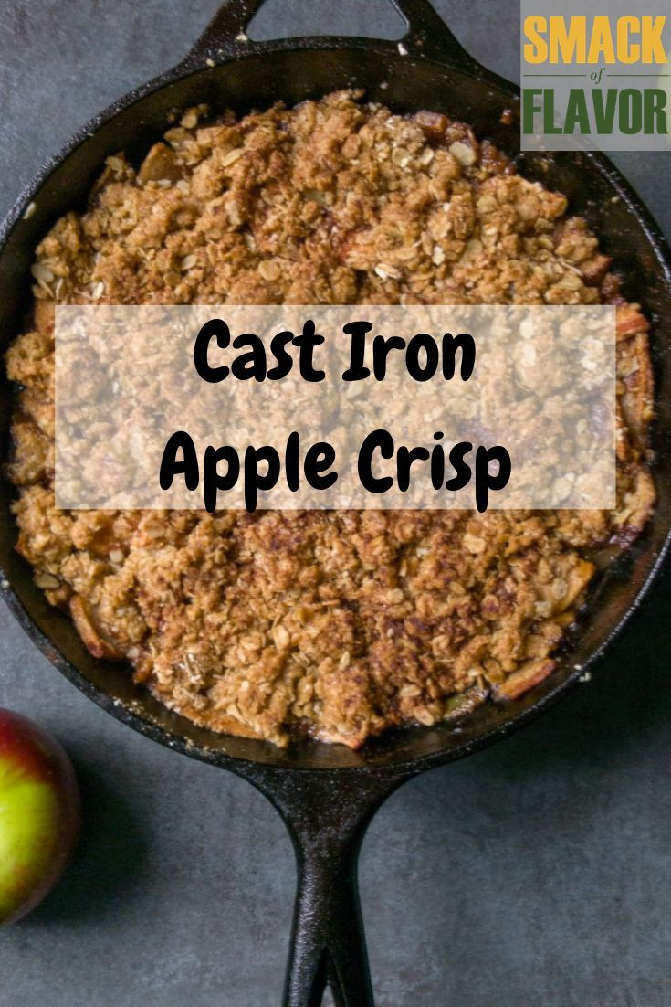This easy apple crisp is made in the cast iron skillet with oatmeal as the topper. This is a perfect fall dessert to use up extra apples. Cast Iron Apple Crisp is a simple yet delicious old fashioned dessert. Perfect topped with ice cream or whipped cream for a crowd.