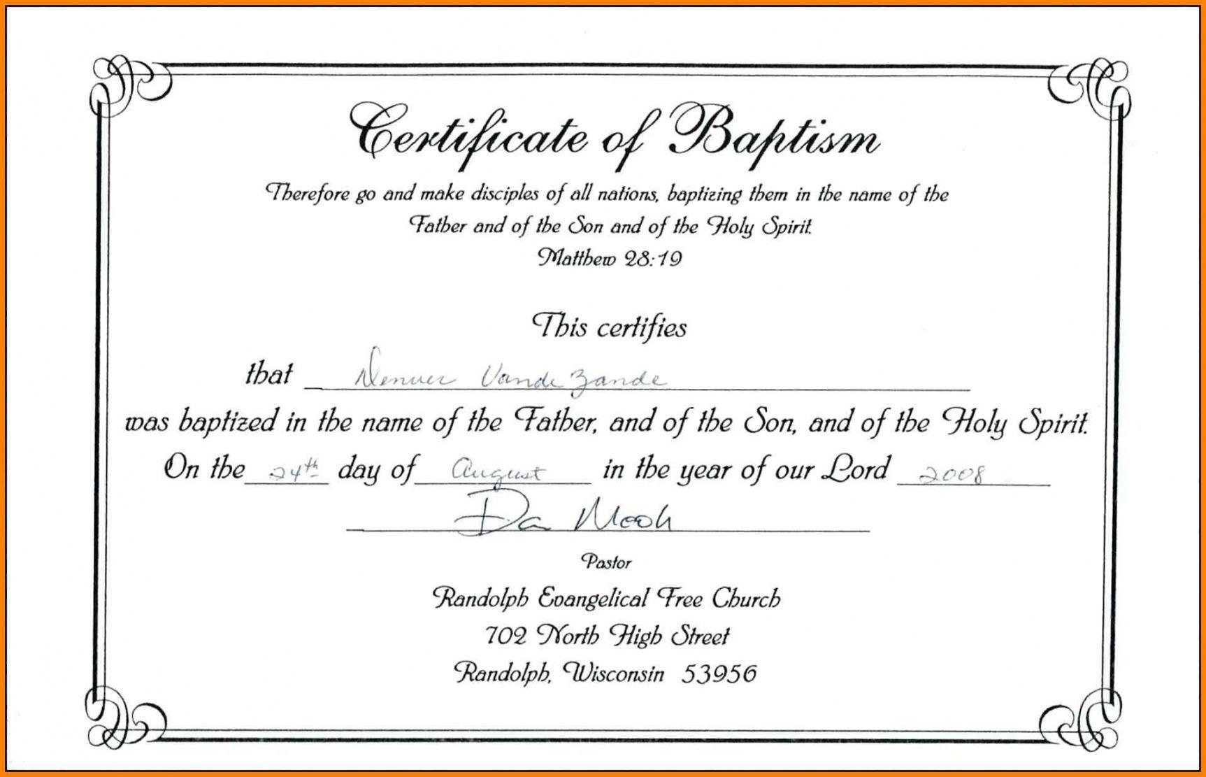 Explore Our Sample Of Catholic Baptism Certificate Template Certificate Templates Baby Dedication Certificate Printable Certificates