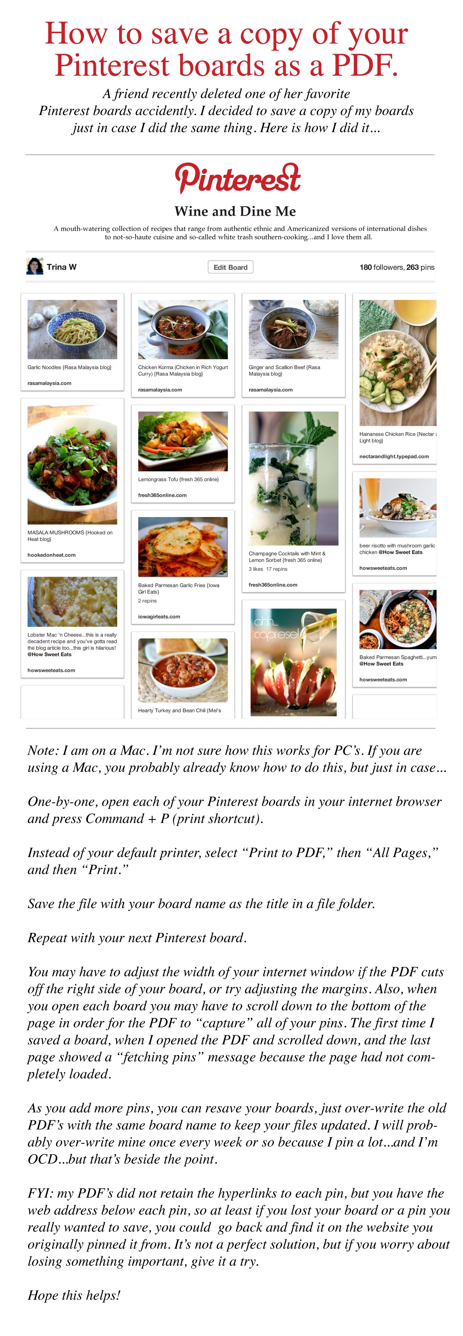 HOW TO ~ Save A Copy Of Your Pinterest Boards As A PDF.