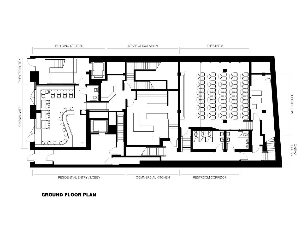 Gallery Of Nitehawk Cinema And Apartments Caliper Studio 3 How To Plan Floor Plans Ground Floor Plan