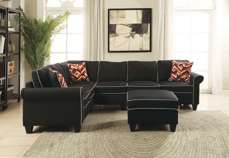 Acme 54240 41 44 3 Pc Kelliava Black Fabric Modular Sectional Sofa With Ottoman Modular Sectional Sofa Sectional Sofa With Chaise Sectional Sofa