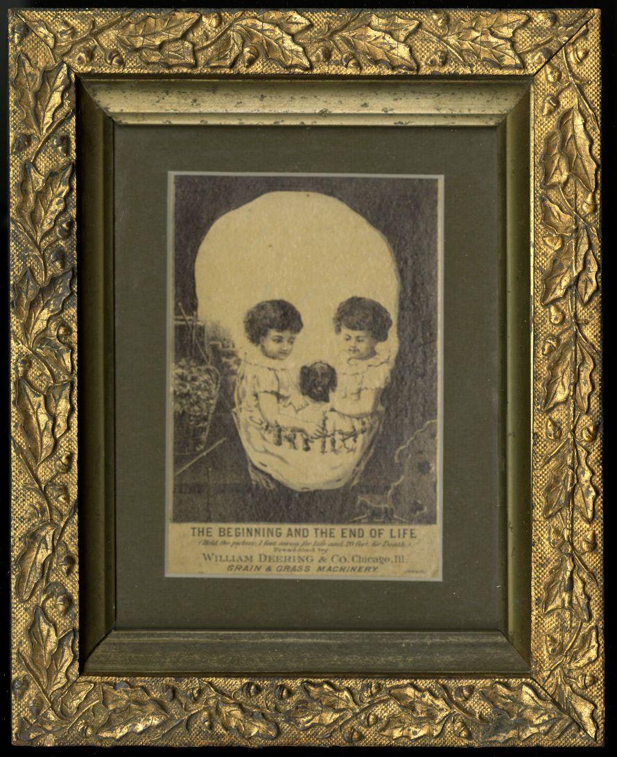 1890S VICTORIAN TRADE CARD SKULL TROMPE L'OEIL DEERING HARVESTER CO CHILDHOOD