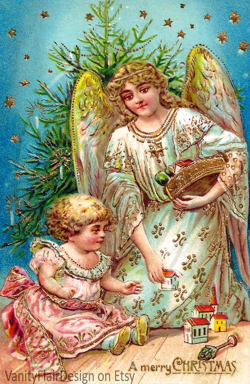 "200 Digital Vintage Victorian Christmas Post Card Fronts 10"" Long"