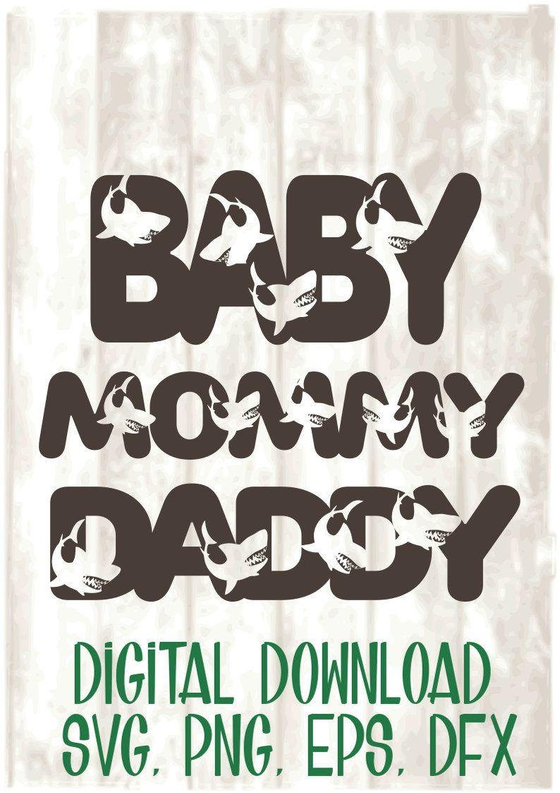 Baby Shark, Mommy Shark, Daddy Shark, svg file, digital
