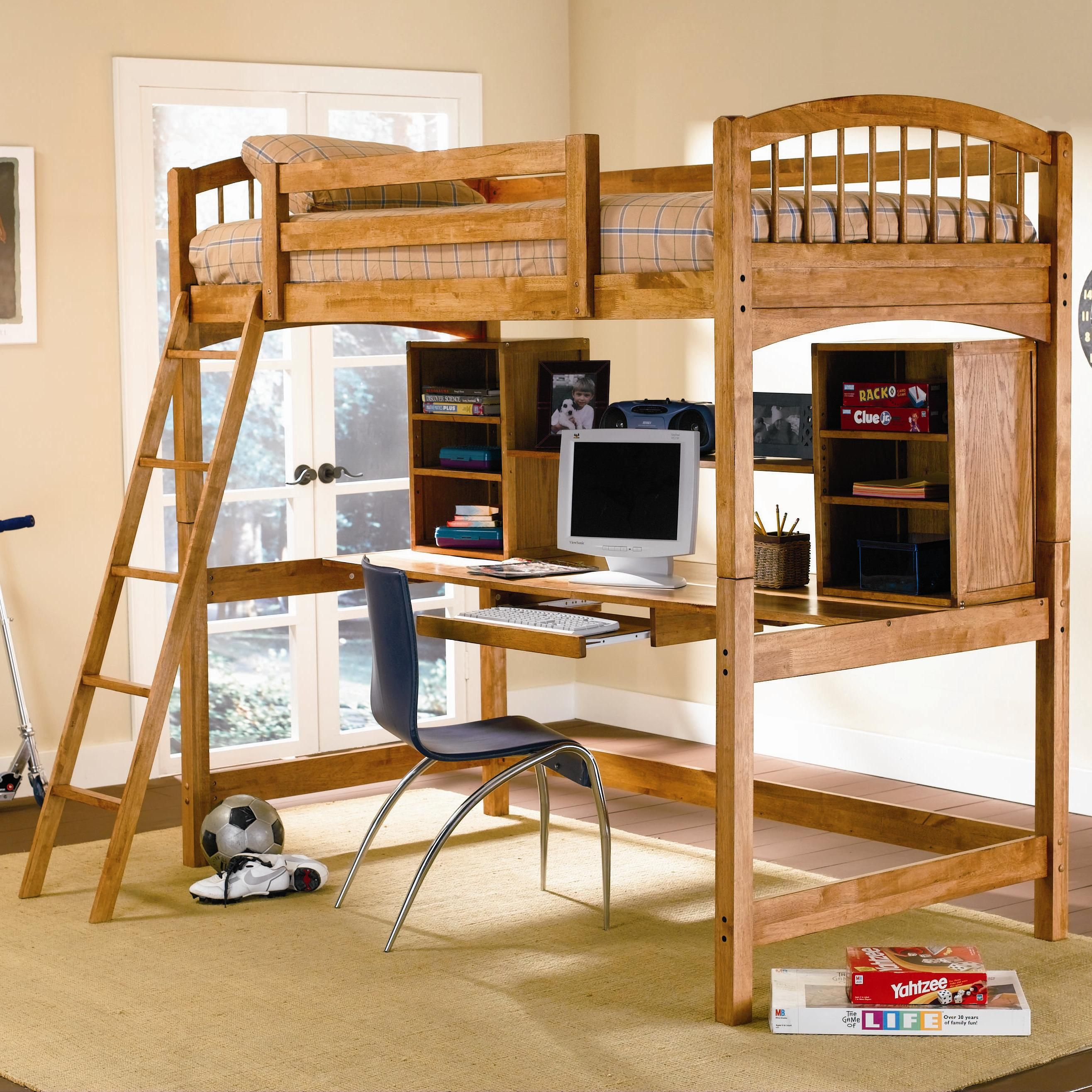 Brown loft bed wooden with chair and computer loft bed for Study bed plans