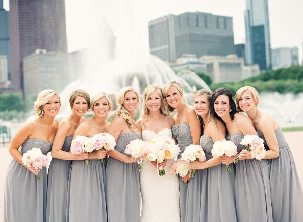 Chic   Modern Chicago Wedding | Grey, Light pink flowers and Gray ...