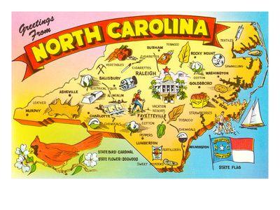 Map Of North Carolina North Carolina Map Camping In North Carolina North Carolina Art