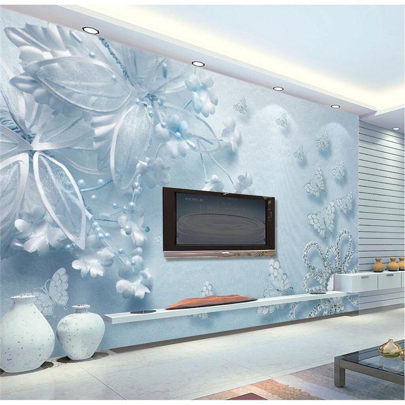 Beibehang Wall Paper Light Blue Diamond Flower Wall Covering Mural
