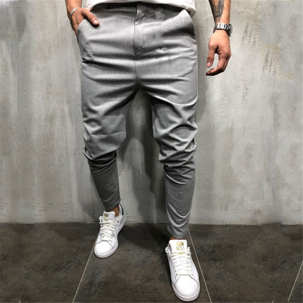 Fashion Mens Slim Pure Color Casual Bandage Casual Sweatpants Drawstring Pant