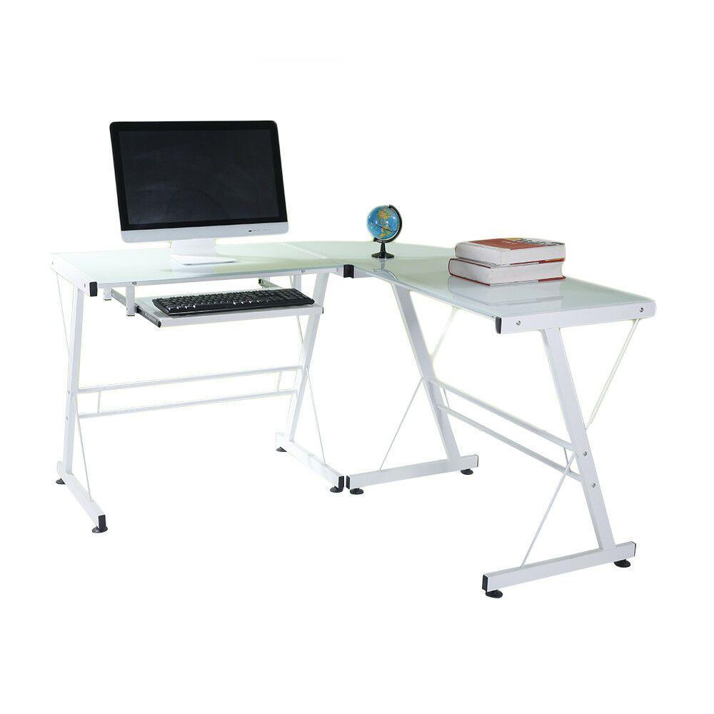 L Shaped Desk Office Computer Glass Corner Desk With Keyboard Tray White Affilink Desk Desksetup Desk With Keyboard Tray Glass Corner Desk Computer Desk