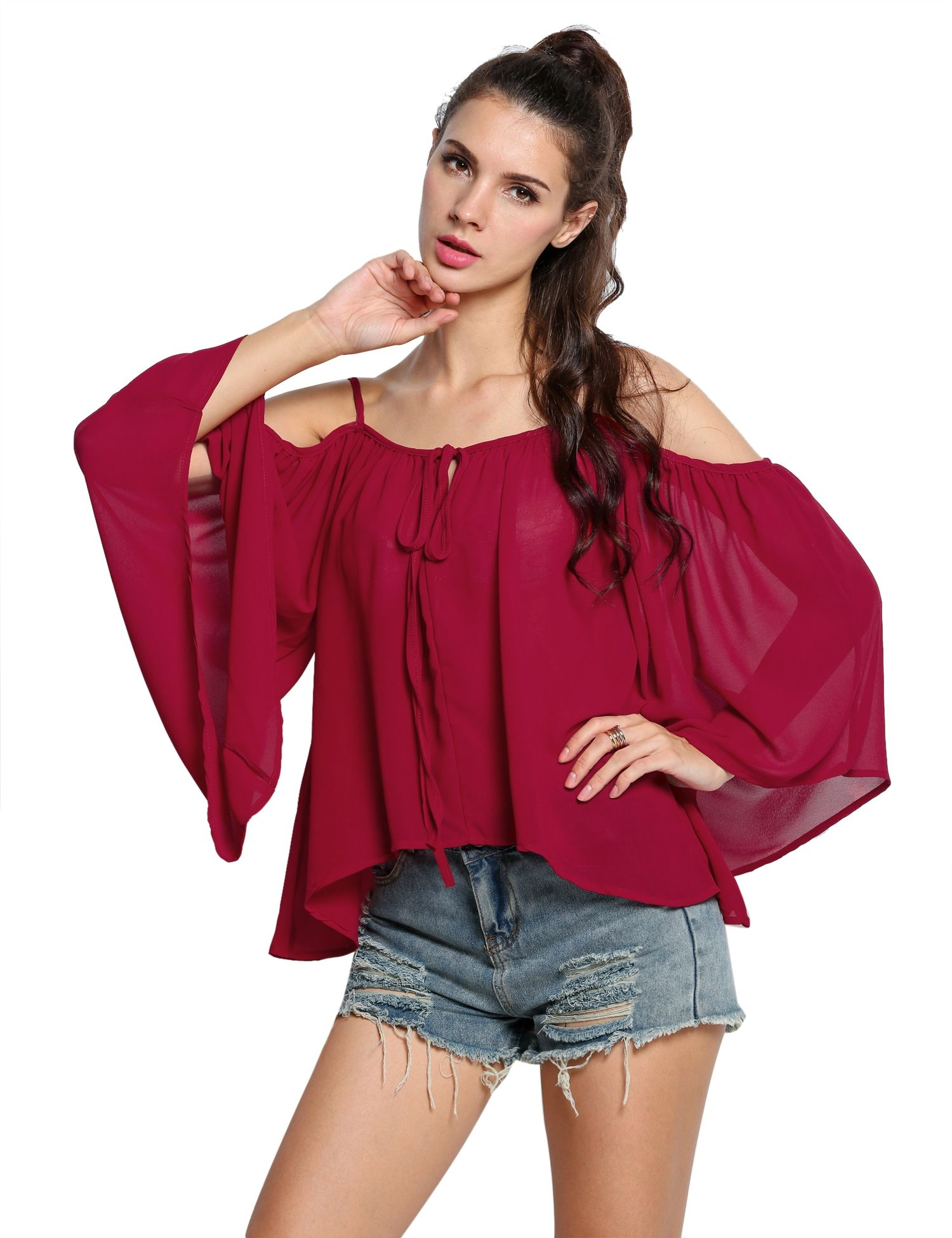 Wine red Women Spaghetti Strap Flare Sleeve Off Shoulder Loose Shirts & Blouses Casual Tops dresslink.com