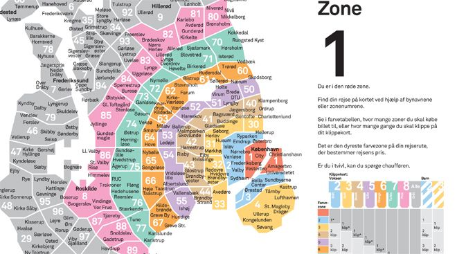 Map of transport system in Copenhagen in COLOR CODED ZONES (which - new world map denmark copenhagen