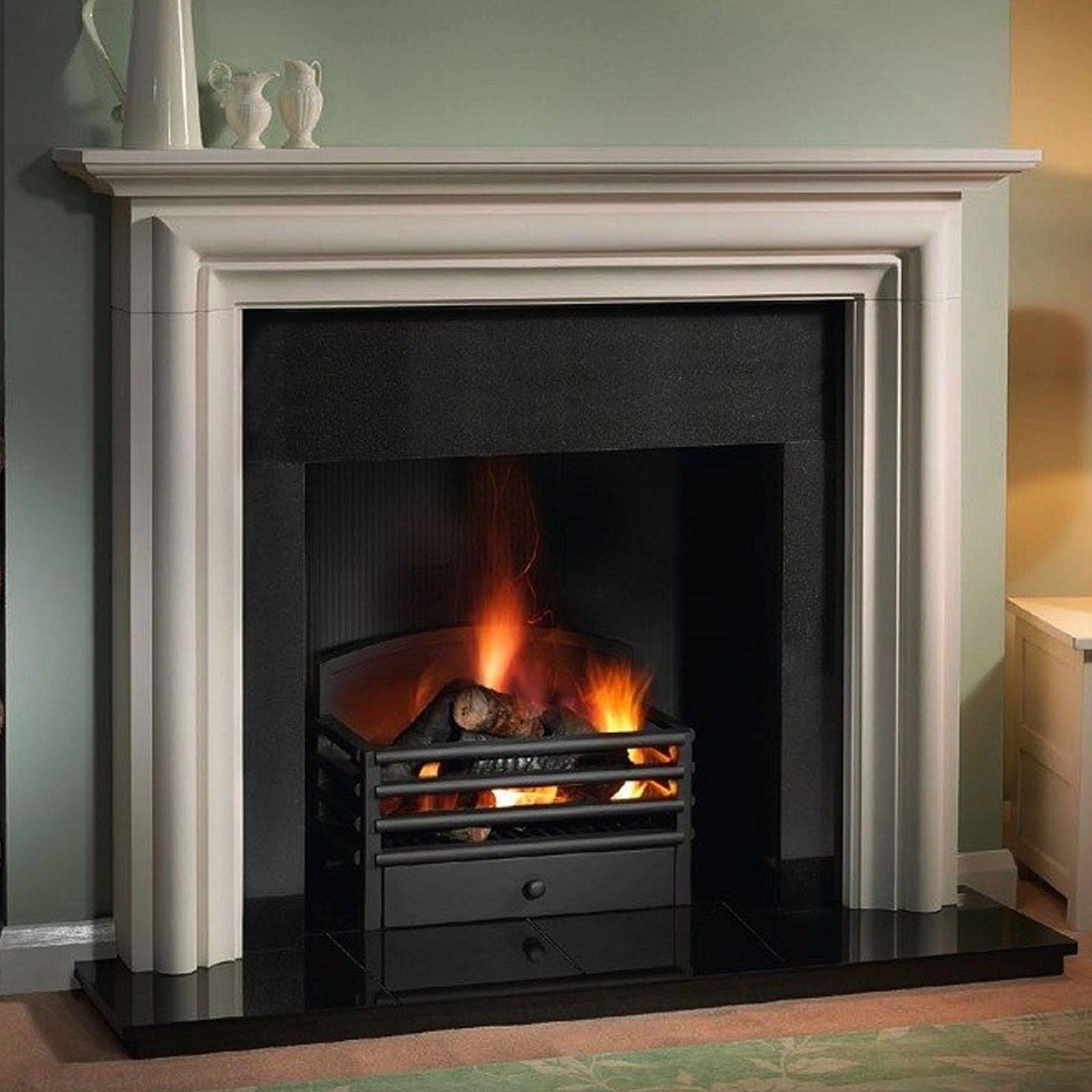 Living room modena limestone fireplace suite mantel and shelf