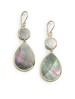 Ippolita 18K Polished Rock Candy Multi-Pear Earrings in Black Shell k9KTJi