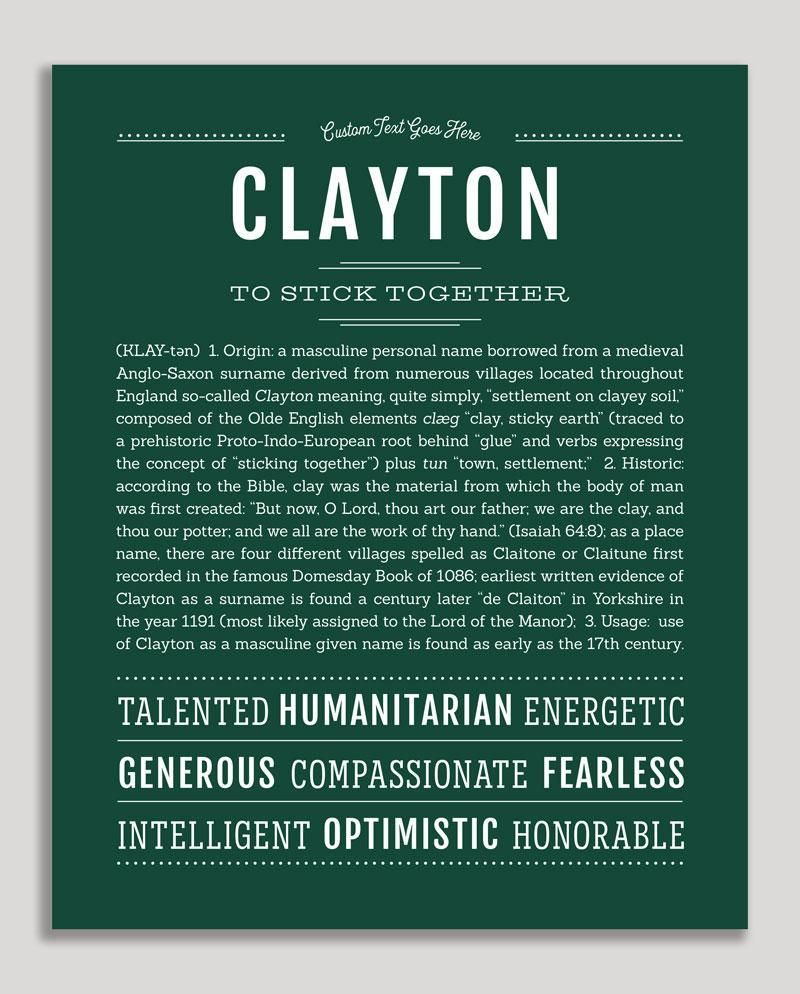 Clayton Name Art Print Classic Names Personalized Art Print Names With Meaning