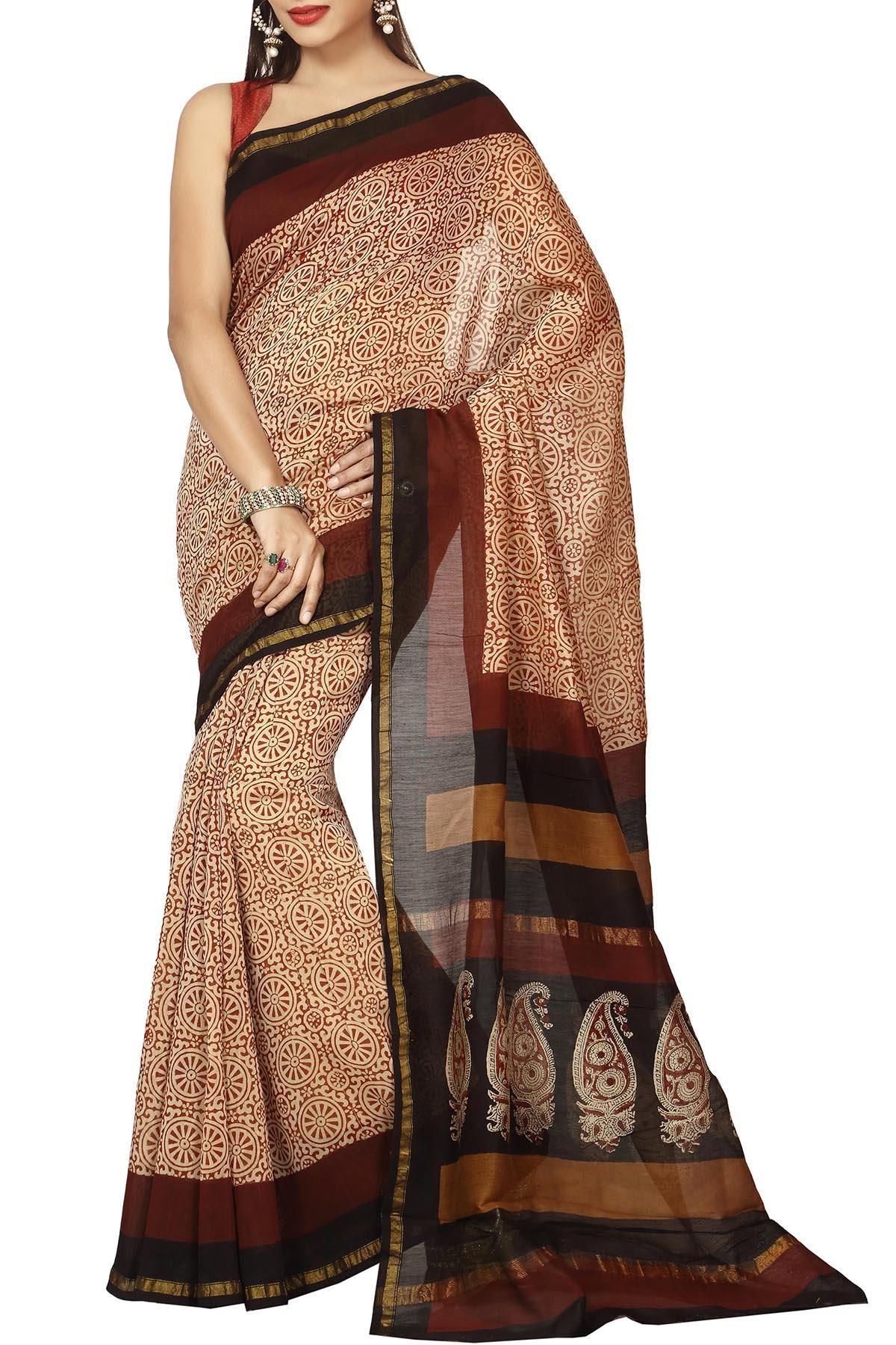 5db6a4fd150 Brown   Ivory Traditional Dabu Batik Print Zari Border Chanderi Cotton Silk  Saree