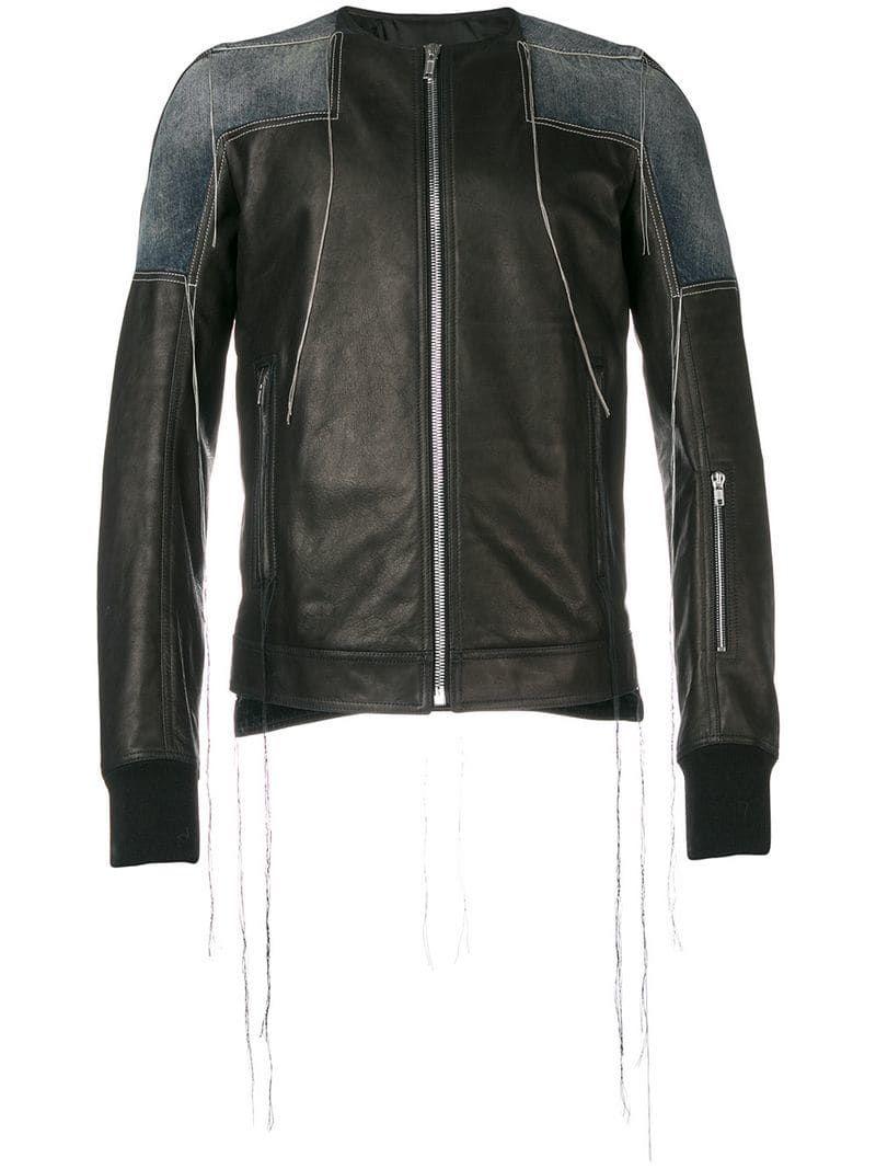 Rick Owens Patchwork Collarless Leather Jacket Farfetch Collarless Leather Jacket Leather Jacket Leather Jacket Black [ 1067 x 800 Pixel ]