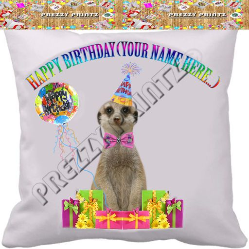 Personalised happy birthday meerkat cushion cover funny gift personalised happy birthday meerkat cushion cover funny gift mothers day easter negle Image collections