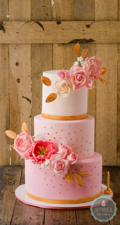 Pink Gold Floral Cake pink gold floralcakes roses gumpaste