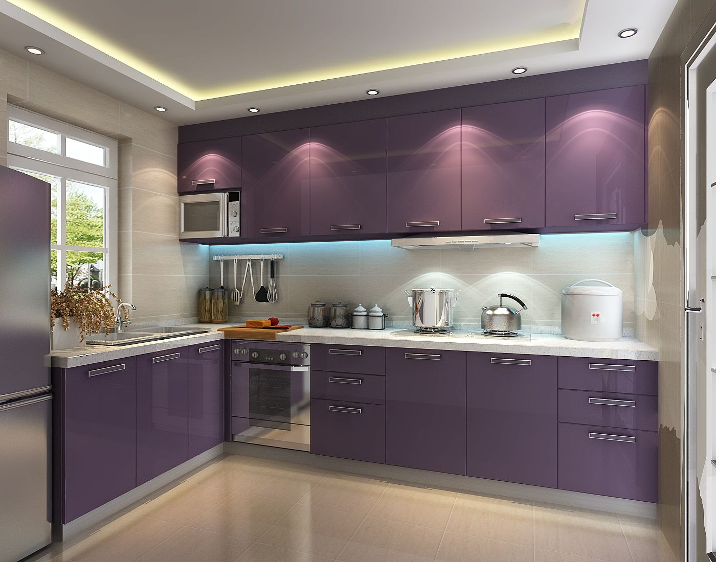 Purple East High Gloss Pvc Kitchen Cabinet