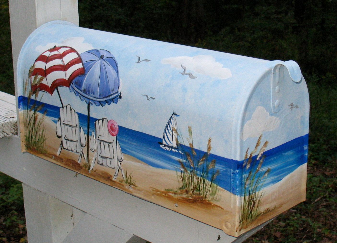 Beach chair with umbrella painting - Painted Mailbox Southern Cali Beach Umbrellas And Adirondack Chairs Hand Painted Mailbox 115 00